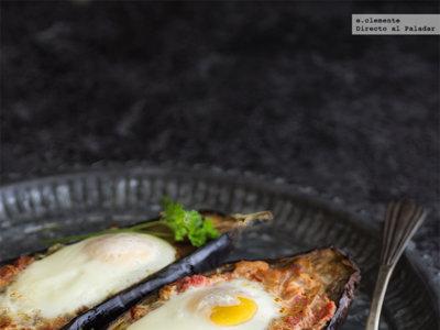 Huevos al nido en berenjena. Receta