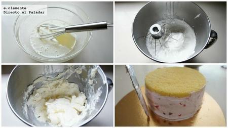 tarta de crema de mantequilla, frambuesas y mascarpone
