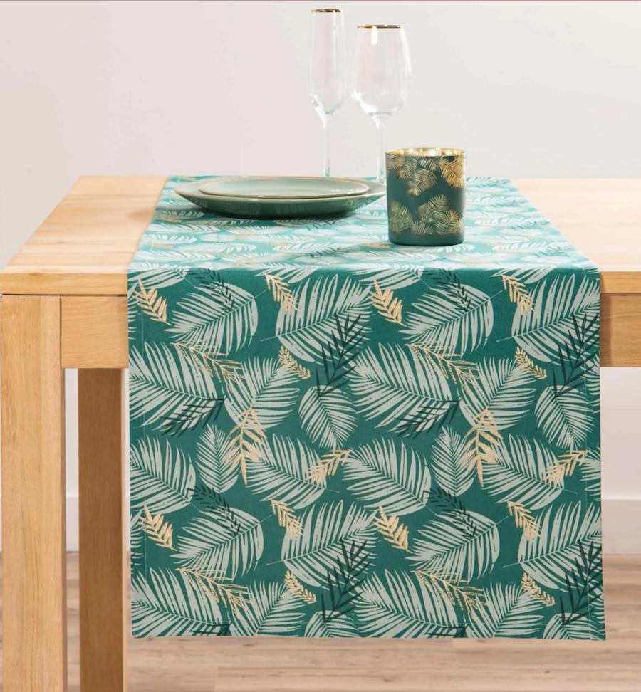 Camino de mesa de algodón con estampado de follaje L150