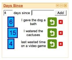 Days Since, widget para iGoogle para conocer los días que transcurren desde cualquier actividad