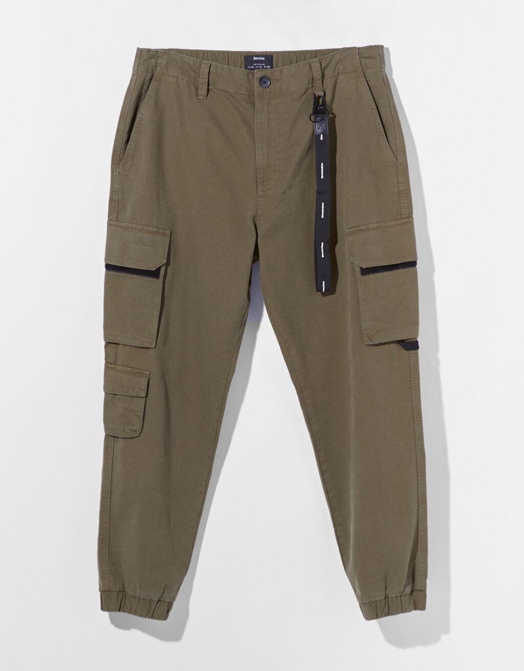 Pantalón tipo cargo Join Line color khaki oscuro