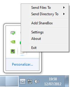 Integración de NitroShare en la bandeja del sistema en Windows