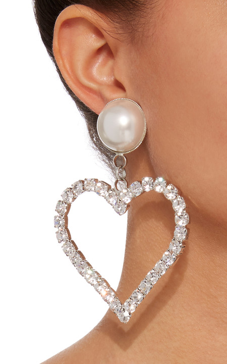 Large Alessandra Rich Silver Crystal Heart Earrings With Pearl Clip