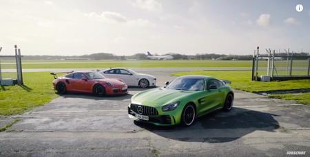 ¿Qué pasa cuando comparas el Porsche 911 GT3 RS, Mercedes-AMG GT R y BMW M4 GTS? Chris Harris tiene la respuesta en este vídeo