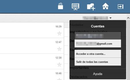 Gestión de cuentas en Gmail Touch Plus