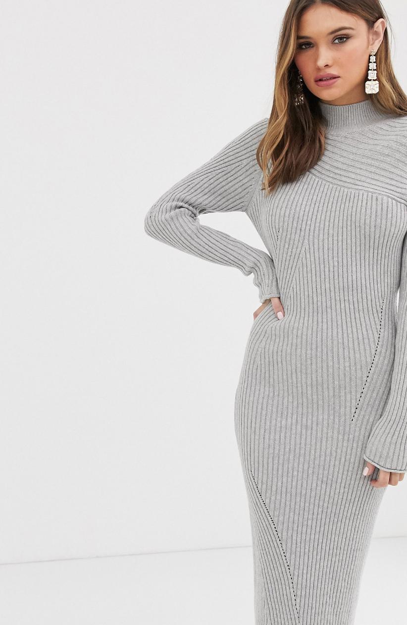 Vestido largo de punto de canalé con efecto movimiento de ASOS DESIGN