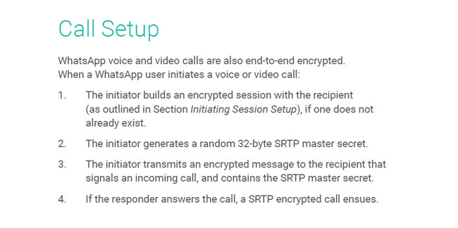 Call Setup Whatsapp Encryption Calls