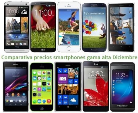 Comparativa precios smartphones más potentes con los operadores en Navidad