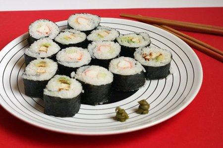Receta de futomaki de pollo y aguacate y cangrejo y pepino