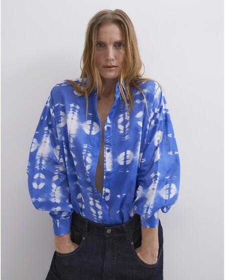 Camisa De Mujer De Manga Larga Con Estampado Tie Dye