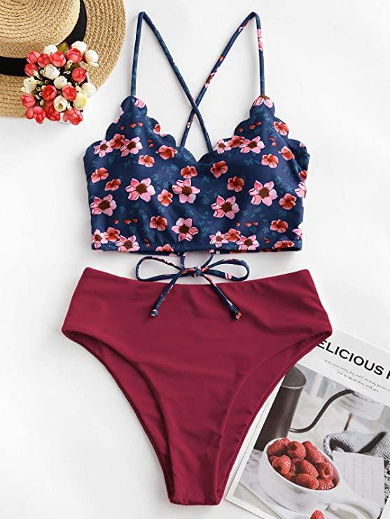 Juego de tankini para mujer, diseño floral con espalda cruzada y cintura alta.