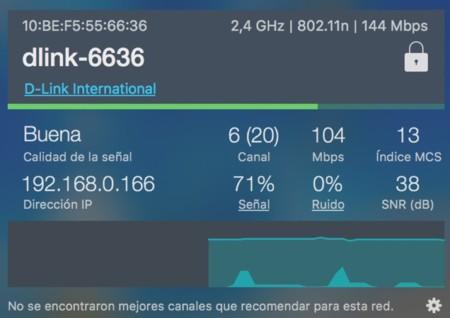 Captura de la aplicación WiFi Signal para ver la información de la red N