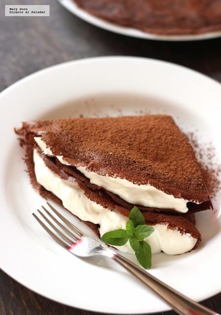 Crepas De Chocolate Rellenas De Crema A La Menta Receta