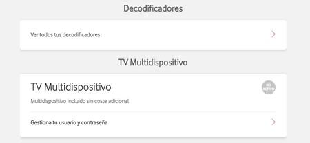 El apartado TV Multidispositivo dentro de Mi Vodafone