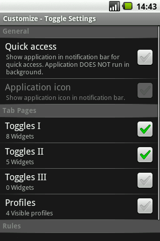 Toggle Settings, perfiles en Android