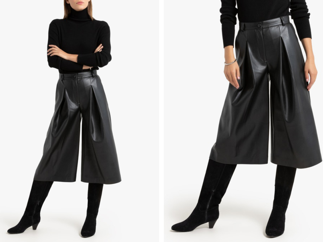 Falda pantalón de piel sintética