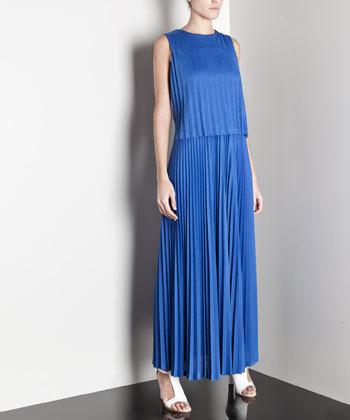 vestido largo azul uterque