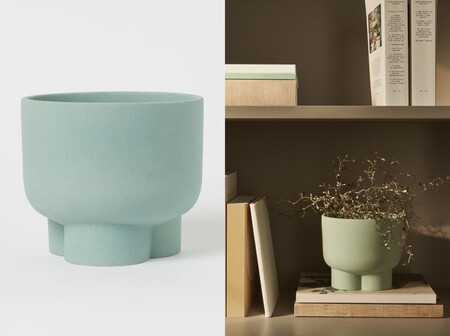 Macetero Ceramica H M Turquesa