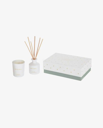 Set White Soul de ambientador en sticks y vela aromática