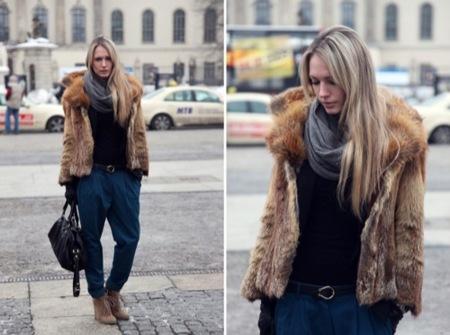 Looks de calle informales: desafía al frío, abrigo piel