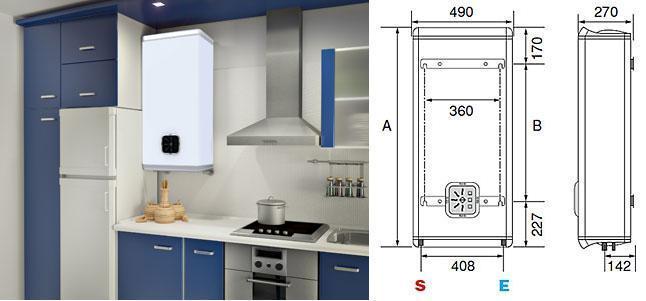 Termo eléctrico Fleck Duo, cabe dentro de un mueble de cocina
