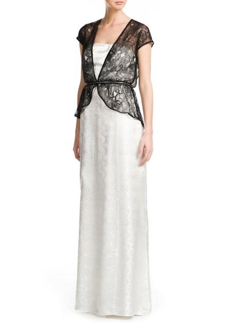 vestido mango blanco y negro