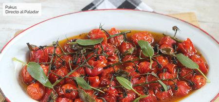 Tomates cherry en rama asados con aroma de salvia, receta de guarnición