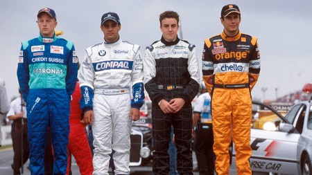 Alonso Montoya Raikkonen Bernoldi F1 2001