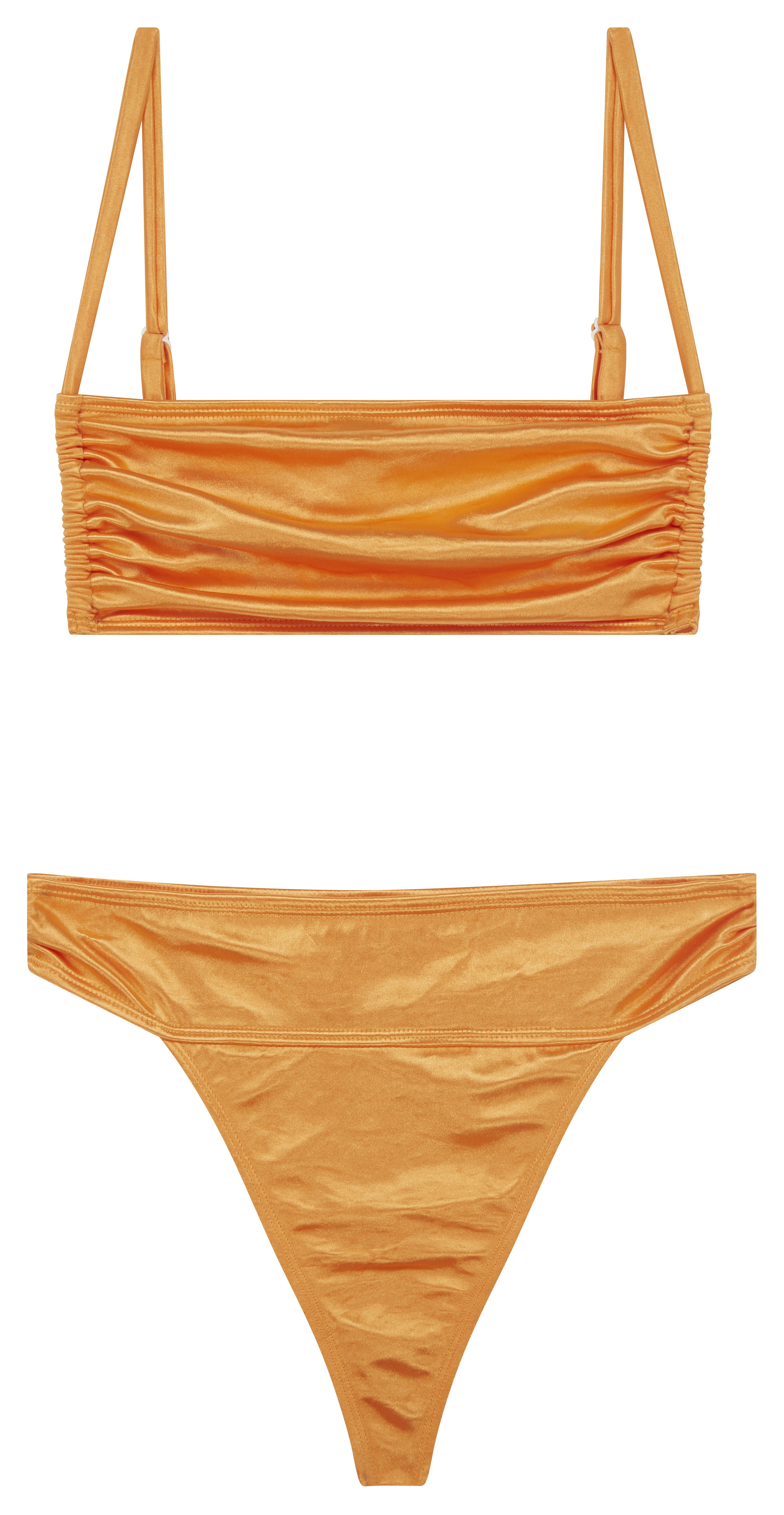 Bikini plisado con escote cuadrado de satén efecto espejo naranja