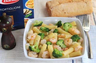 Receta de Tortiglioni con brócoli y gambas