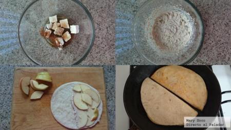 Quesadillas dulces de manzana y queso crema. Pasos
