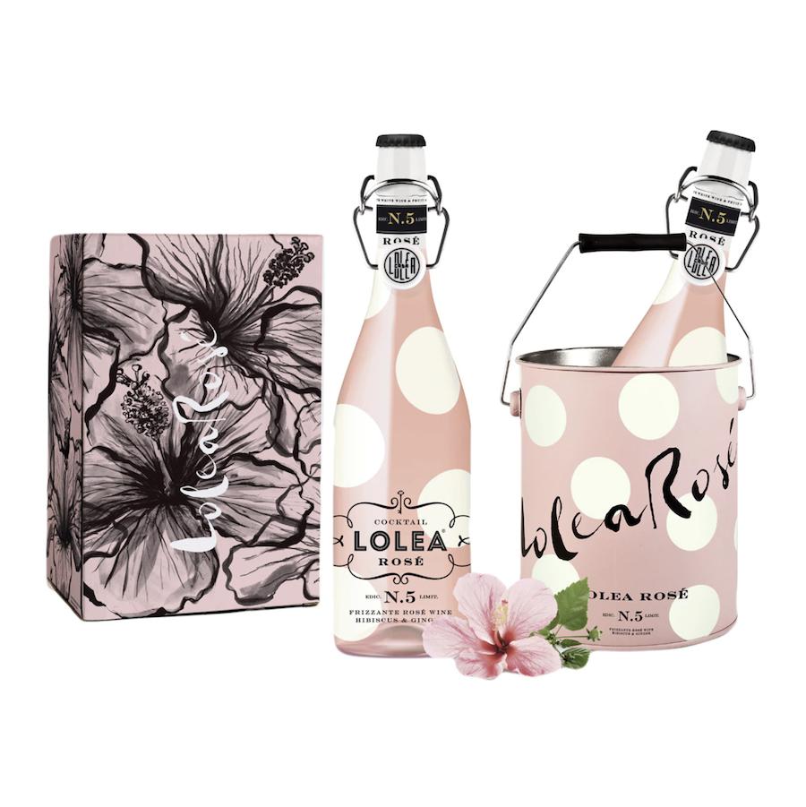 Pack de dos botellas y cubitera de sangría cocktail Nº 5 rosé Lolea