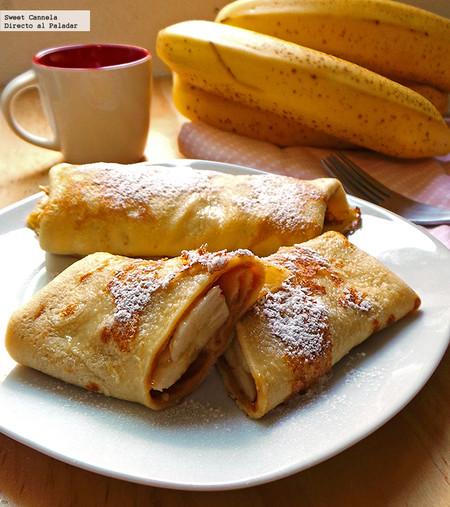 Crepas de crema de cacahuate, maple y plátano. Receta