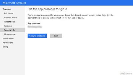 Verificación en dos pasos de cuentas Microsoft, contraseña