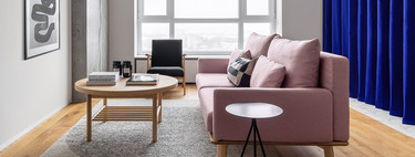 Cortinas como separadores de ambientes en este moderno apartamento de 65 m2