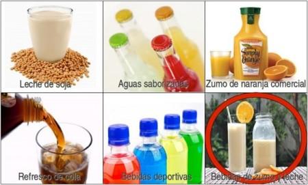 Solución a la adivinanza: la bebida de zumo y leche es la que tiene más azúcar