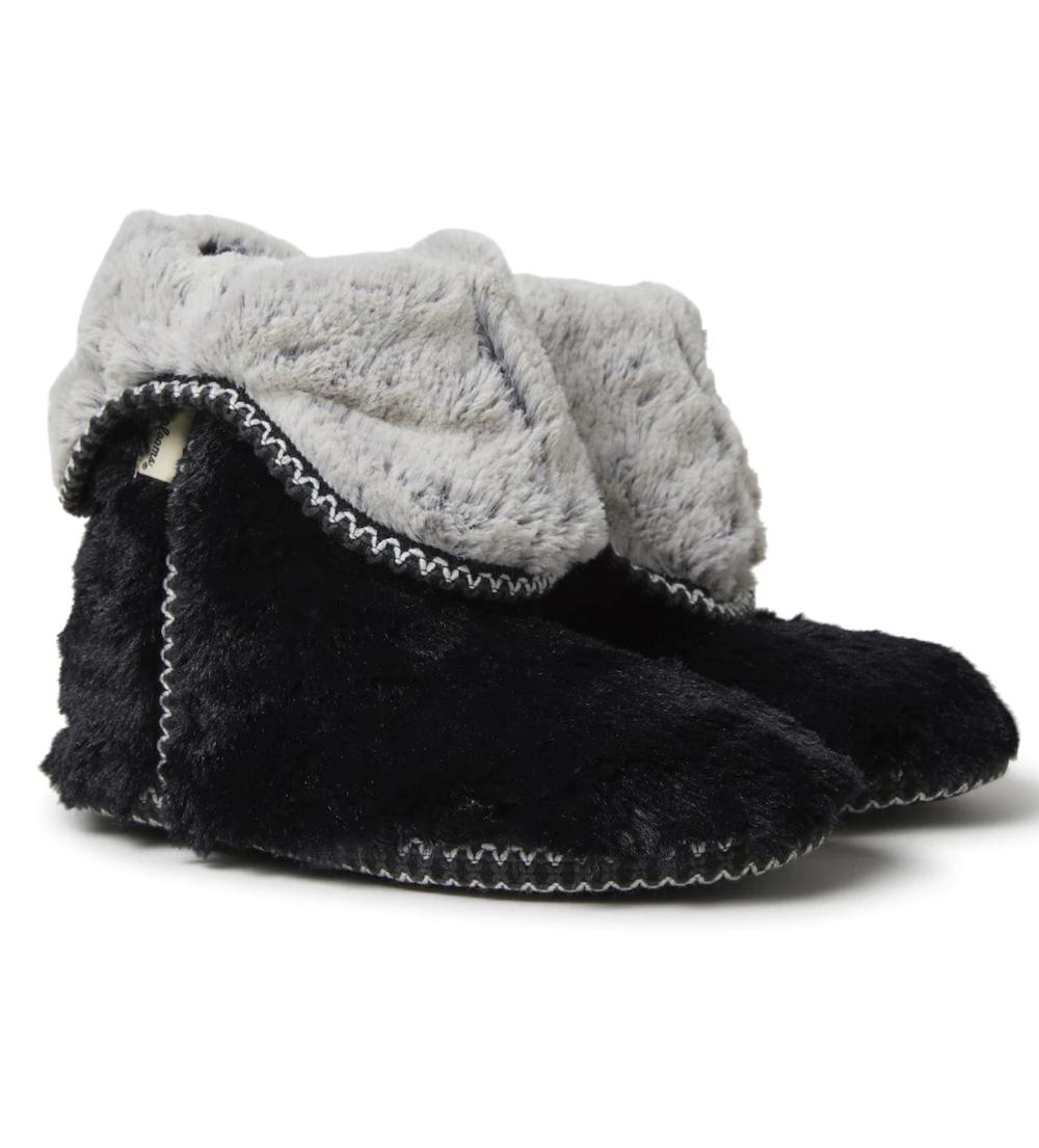 Zapatillas de casa de mujer Dearfoams de botín en negro