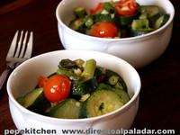 Calabacines con salsa aromática de mantequilla. Receta