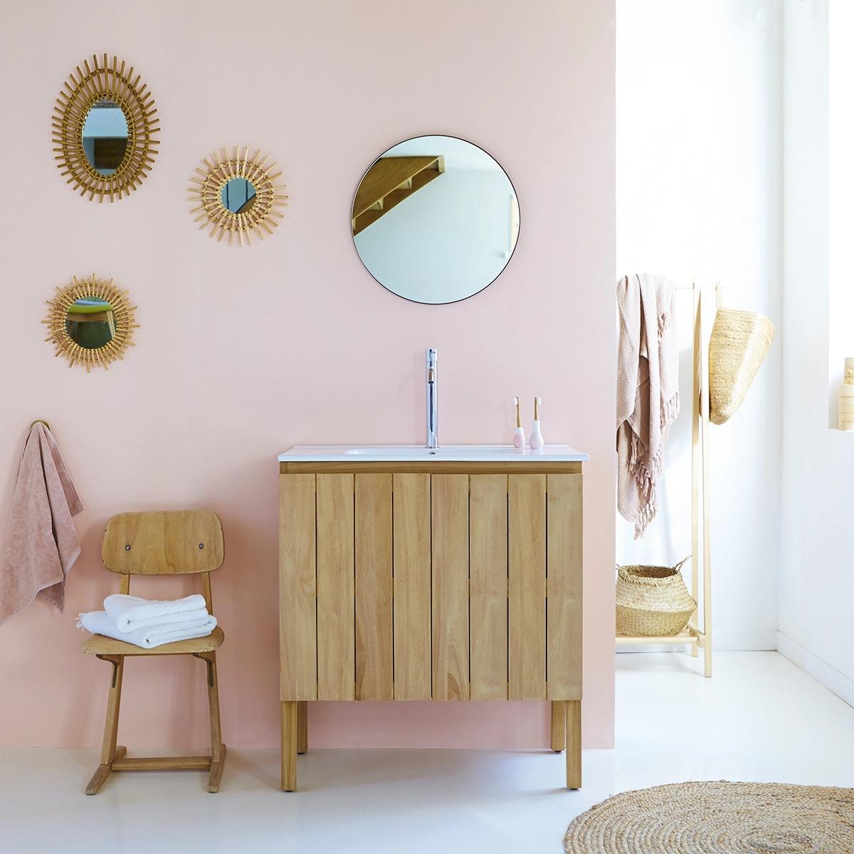 Mueble en teca maciza con Lavabo de cerámica 80 Jill