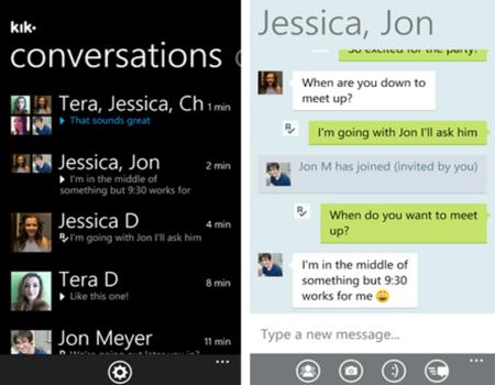 Kik Messenger hace su estreno en Windows Phone 7