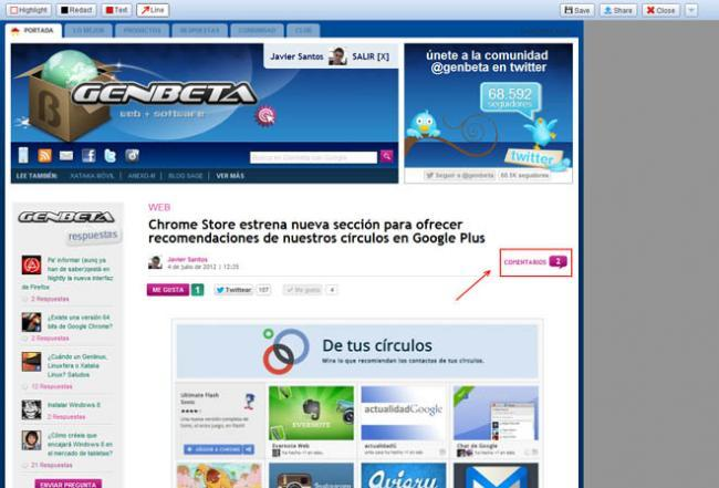 Extensión Screen Capture de Chrome.