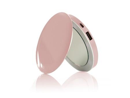 Bateria Externa Con Forma Espejo Rosa