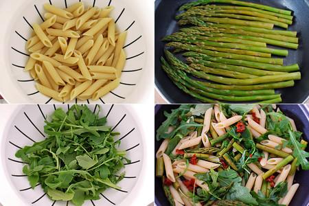 Ensalada de Penne rigate con espárragos, rúcula y tomate seco. Pasos