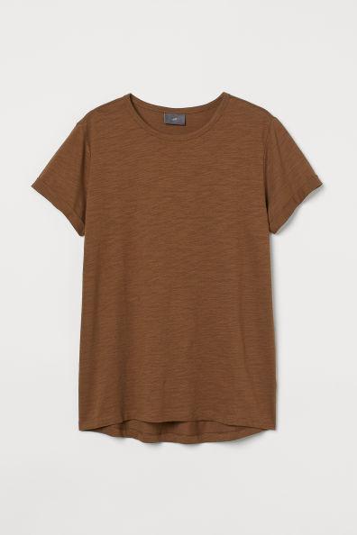 Camiseta marrón en punto flameado