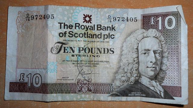 Billete de 10 libras del RBS