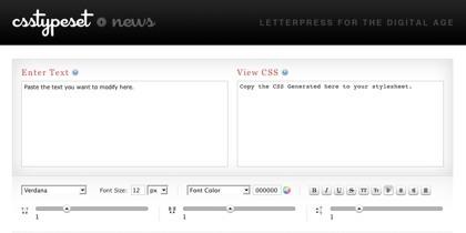 TabCreatr y CSS Type Set, ayudando a crear hojas de estilos CSS