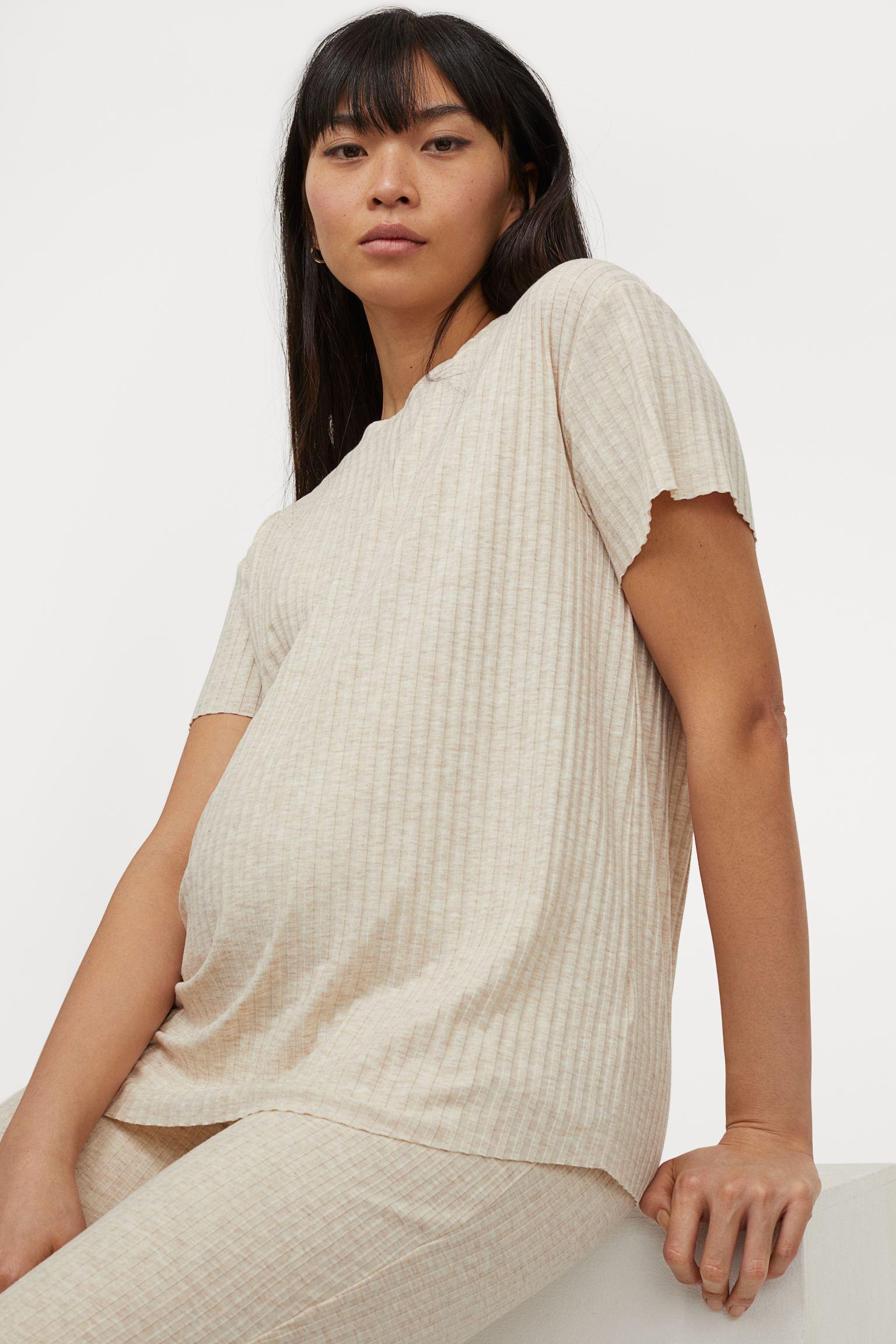 Camiseta beige de canalé