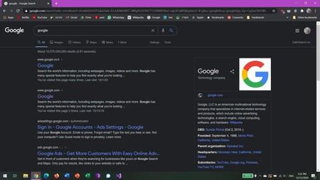 Google está experimentando con habilitar el modo oscuro en su página de resultados