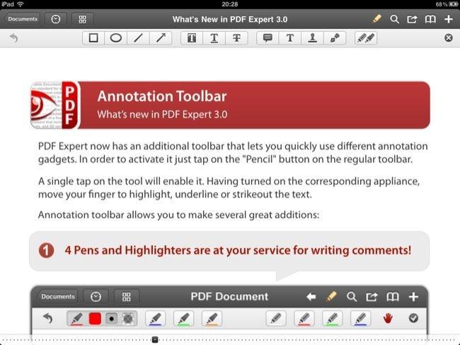 PDF Expert 3.0 incluye una ayuda con las principales novedades, en PDF
