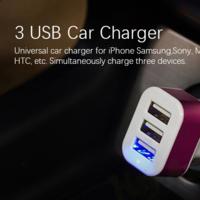 Cargador de coche USB, con 3 puertos, por sólo 45 céntimos con envío incluido